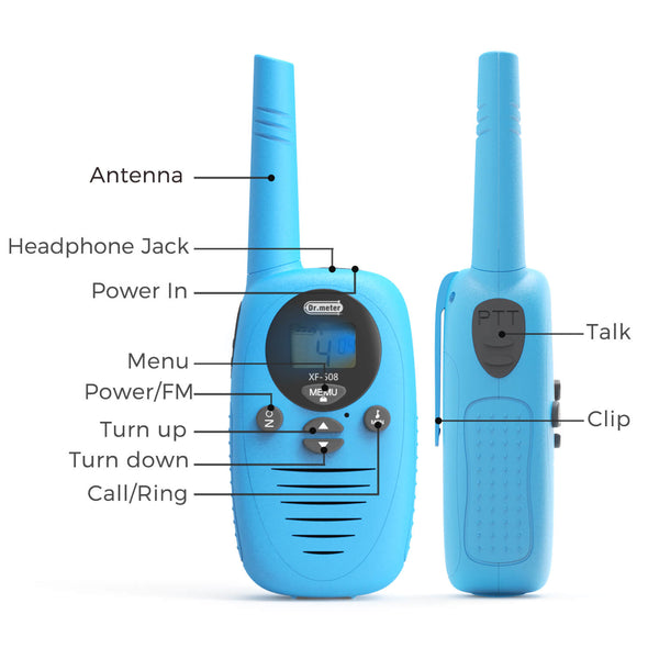 Walkie Talkies for kids, 3 Pack, Dr.meter blue