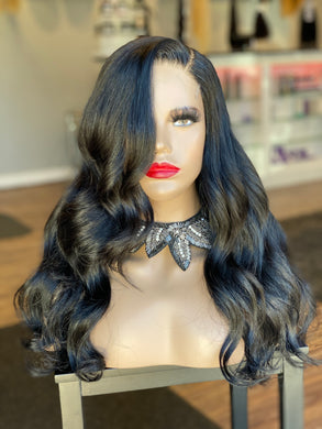 "Onyx Jet Black 18"" 5x5 HD closure wig"
