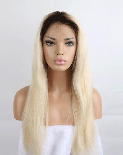 Stock Full Lace 1B/ 613 (dark roots) Straight Wig