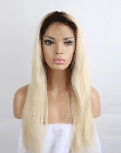 Full Lace Stock 1B/ 613 (dark roots) Straight Wig