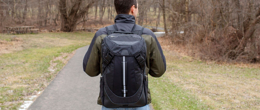 Man walking with a Targus Voyager II backpack