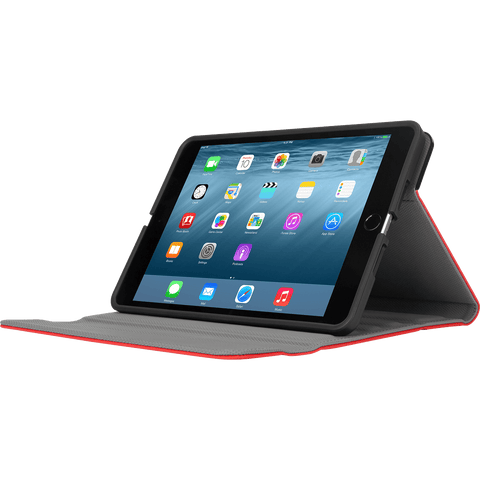 Red VersaVu® Slim 360° Rotating Case for iPad mini® (THZ59403GL) - In Use Landscape Left