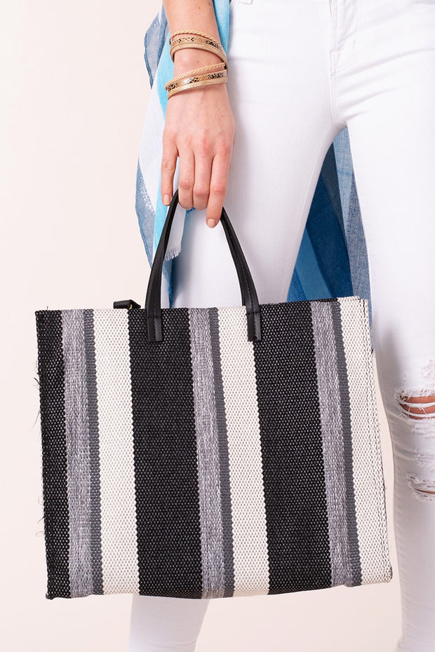 Striped Woven Shopper Bag