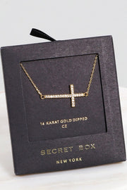 Secret Box Cross CZ Gold Dipped Pendant Necklace