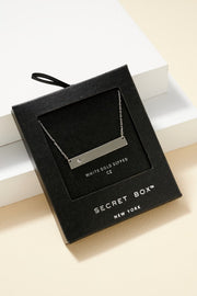 Secret Box Metal Bar CZ Gold Dipped Necklace