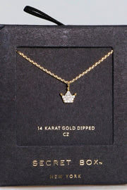 Secret Box Crown CZ Pendant Gold Dipped Necklace