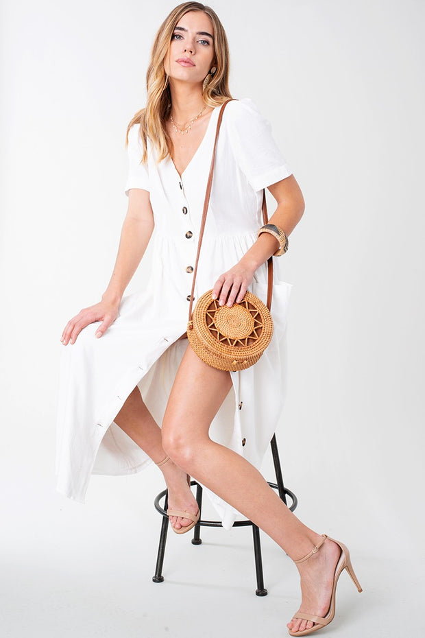 Linen Button down Midi Dress with Pockets