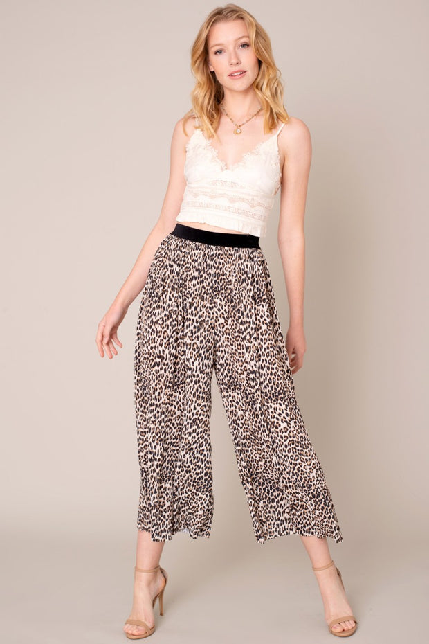 Leopard Print Satin Pleated Palazzo Pants