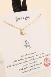 Half Moon CZ Black Diamond Gold Dip Necklace