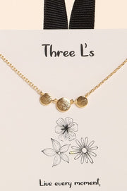 Three Linked Disks Charm Gold Dip Short Necklace