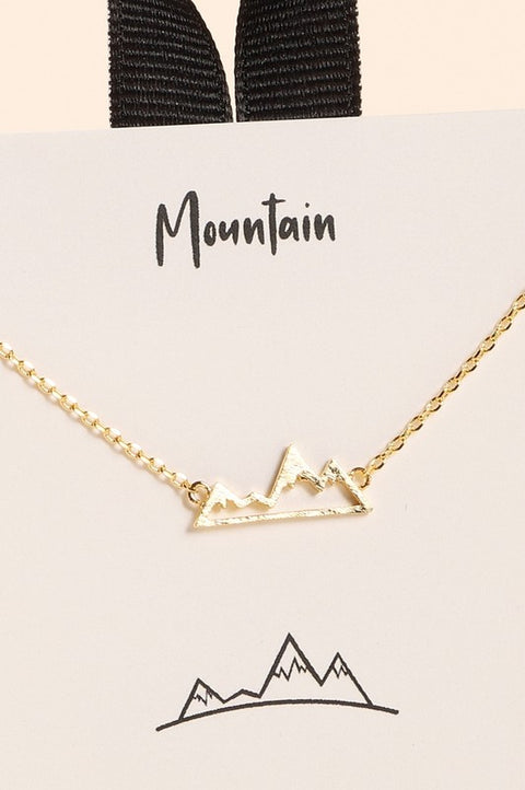 Mountains Charm Gold Dip Short Necklace