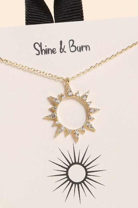 Sun CZ Charm Gold Dip Short Necklace