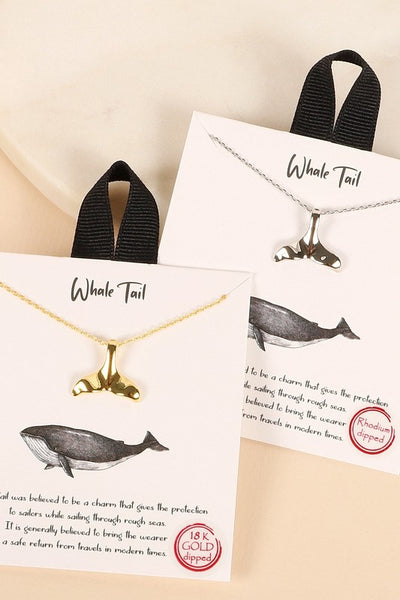 Whale Tail Charm Gold Dip Short Necklace