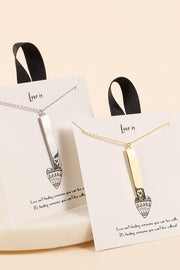 Heart Embossed Bar Charm Gold Dip Short Necklace