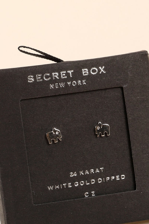 Secret Box Elephant Gold Dipped Stud Earrings