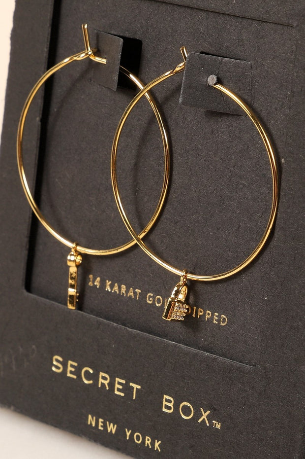 Secret Box Key Lock CZ Gold Dipped Hoop Earrings