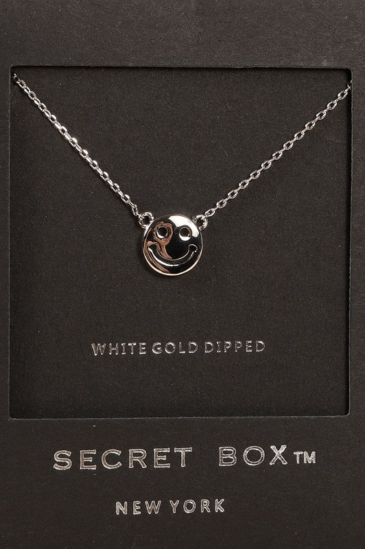 Secret Box Smiley Face Pendant Gold Dip Necklace