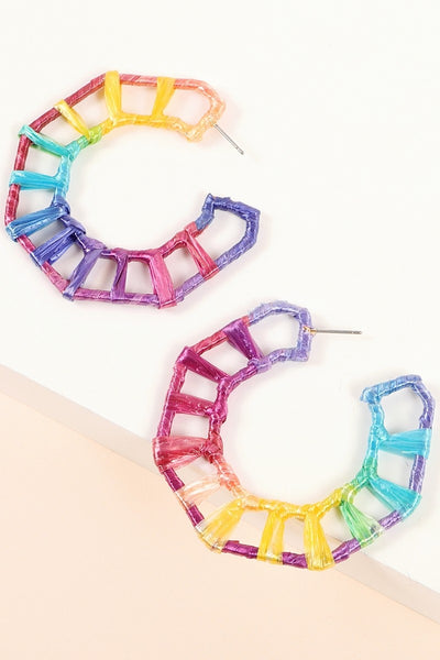 Raffia Wrapped Geometric Open Hoop Earrings