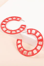 Raffia Wrapped Round Open Hoop Earrings