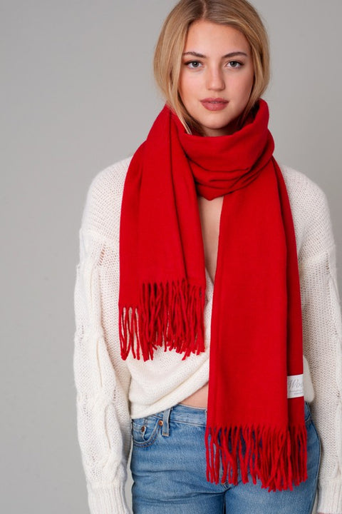 Wool Blend Solid Fringed Scarf
