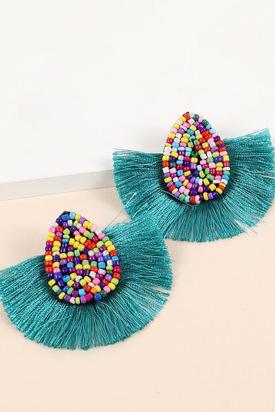 Tear Drop Seed Beads Tassel Dangling Earrings