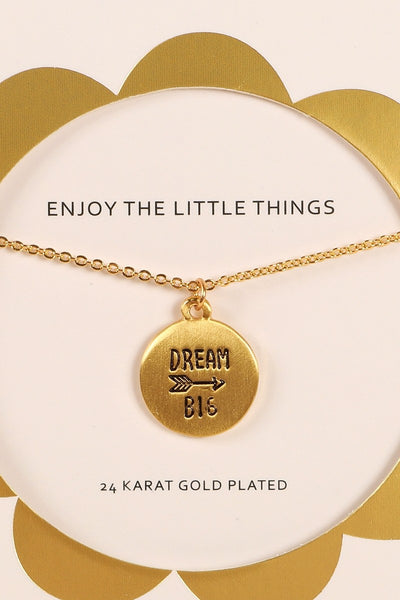 Dream Big Metal Disc Charm Inspirational Necklace