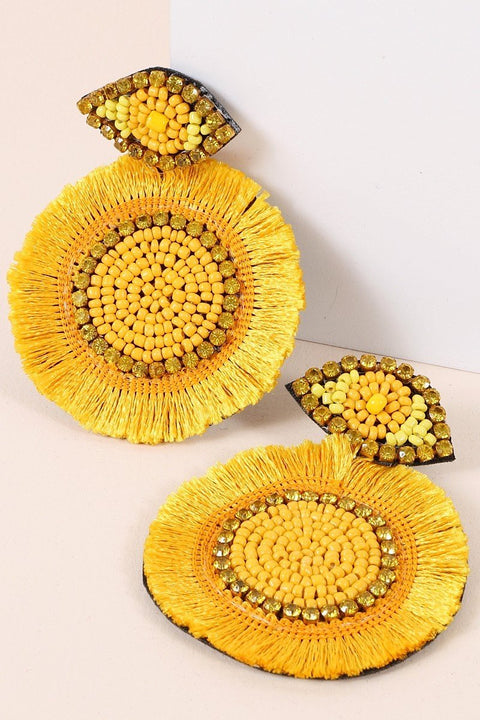 Seed Beads Tassels Rhinestones Round Earrings
