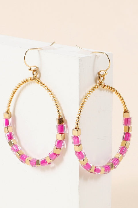 Wire Metal Square Japanese Glass Beads Earrings