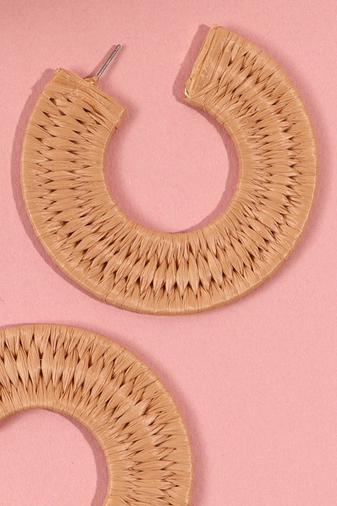 Raffia Wrapped Open Hoop Earrings
