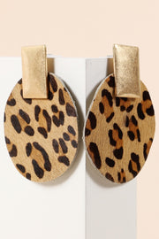 PU Animal Print Metal Dangling Earrings