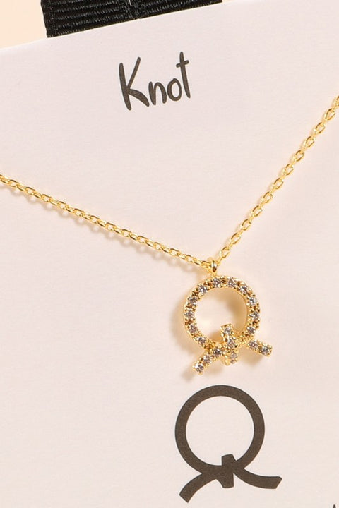 Pave Cubic Zirconia knot Necklace