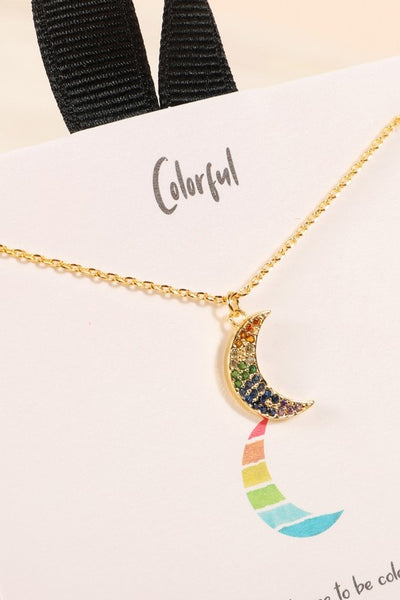 Colorful Rainbow Crescent Moon Necklace