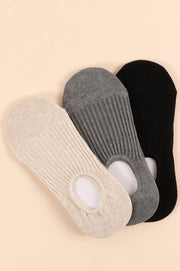 3 Pair Assorted Pack of Ribbed Crew Socks
