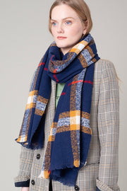 Simply Classic Plaid Frayed Scarf