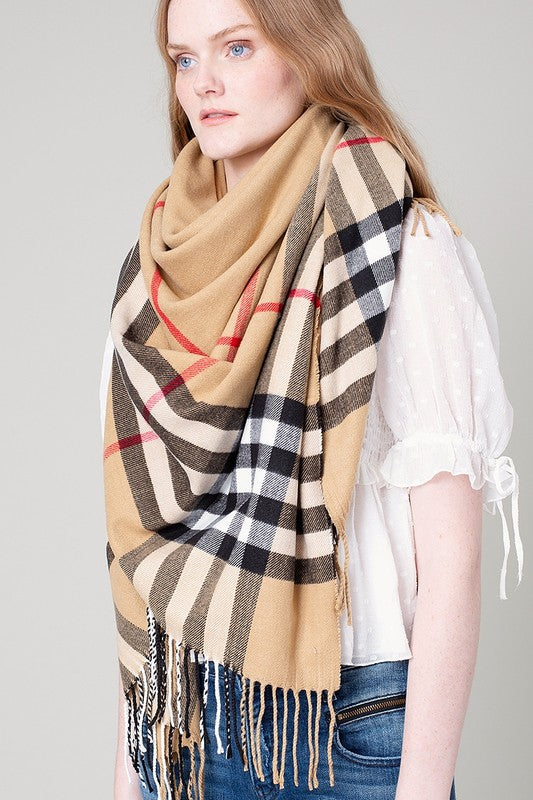 Fringed Fine Classic Plaid Blanket Scarf