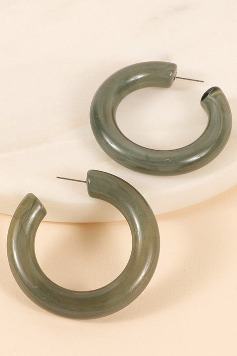 Thick and Chunky Hollow Acetate Hoop Earrings
