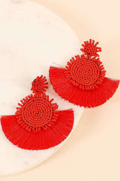 Sead beaded and Fan Tassel Drop Earrings
