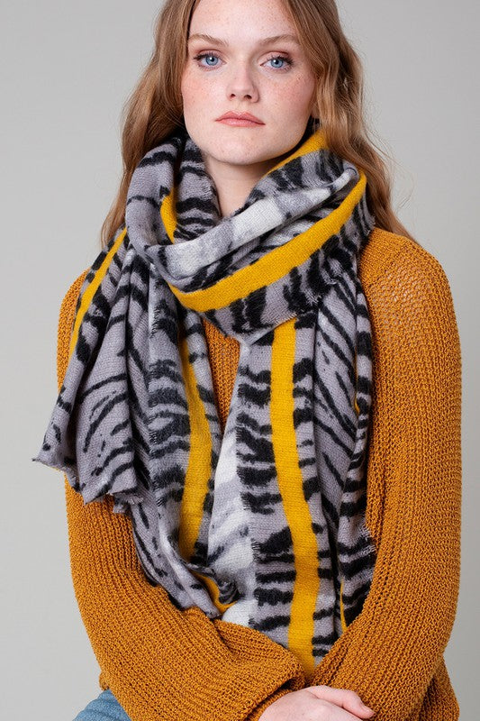 Tiger Print and Stripe Accent Scarf