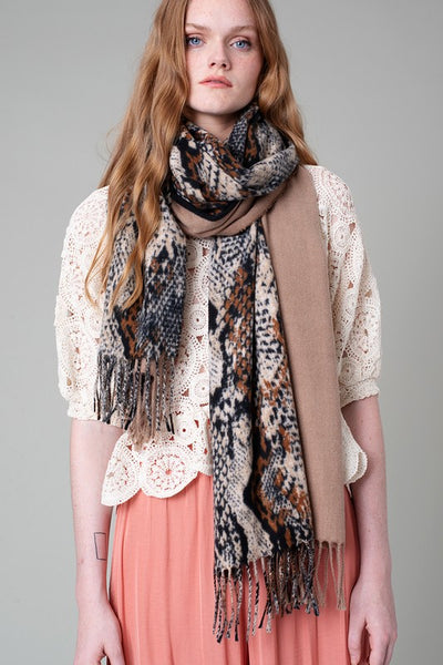Python Print and Solid Contrast Fringe Scarf
