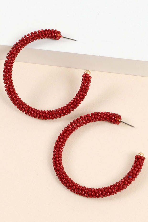 Sead Beads Open Hoop Earrings