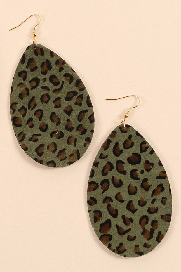Animal Print Tear Drop Earrings