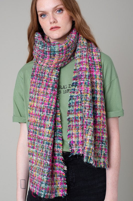 Mix Color Tweed Oblong Scarf