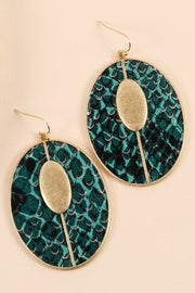 Snake Skin PU Leather and Oval Metal Earrings
