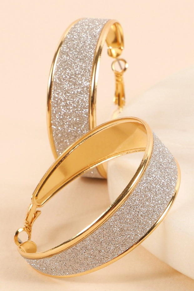Crystal Sand Metal Hoop Earrings