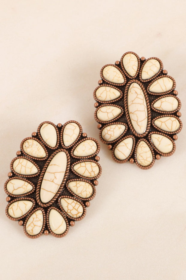 Western Floral Oversized Stud Earrings