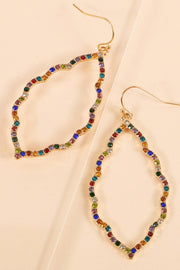 Rhinestones Metal Dangling Earrings