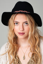 Floppy Felt Hat With Braided Detail