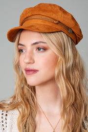 Suede Greek Fisherman Cap With Rope Accent