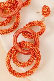Linked Rings Seed Beads Thread Earrings