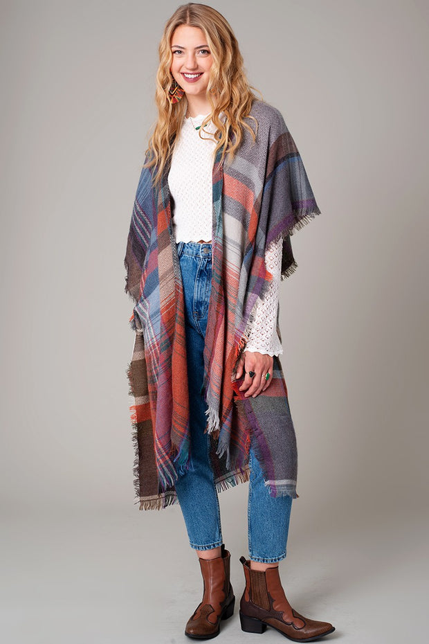 Multi Color Jacquard Plaid Long Kimono